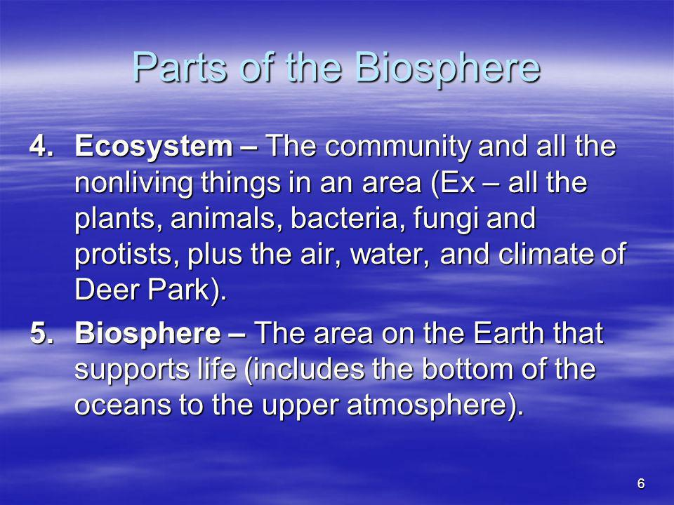 Parts of the Biosphere