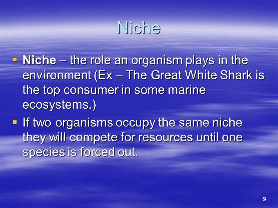 Niche Niche – the role an organism plays in the environment (Ex – The Great White Shark is the top consumer in some marine ecosystems.)
