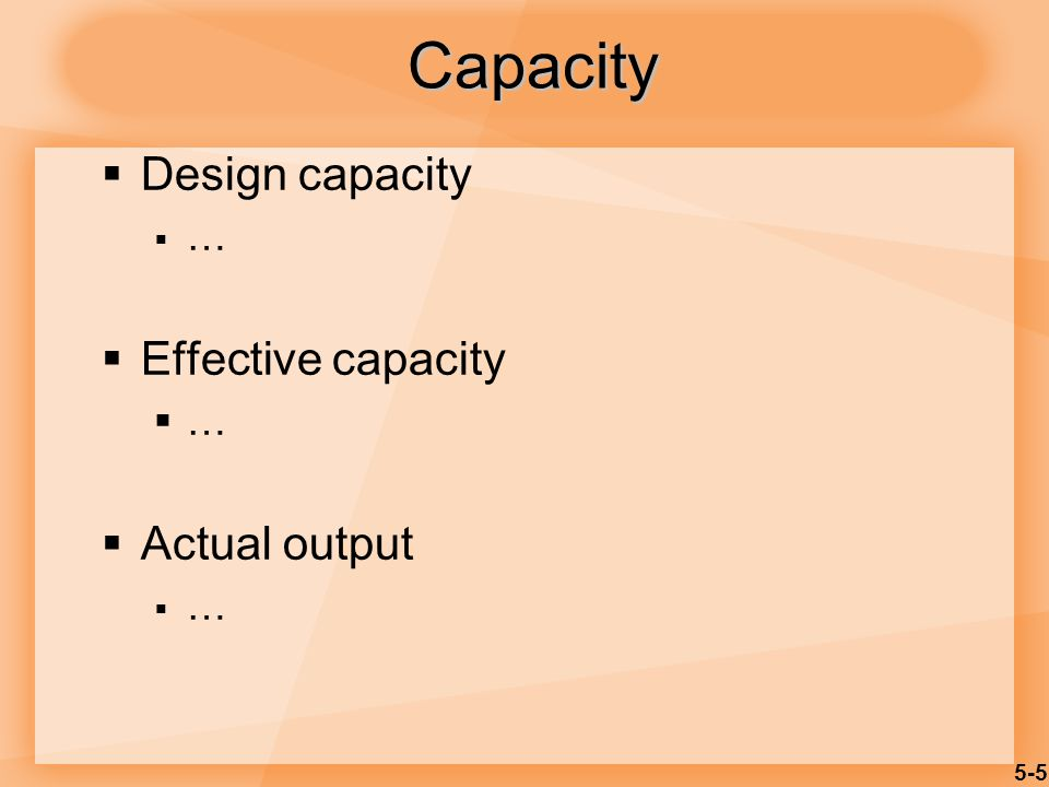 Capacity Design capacity … Effective capacity Actual output