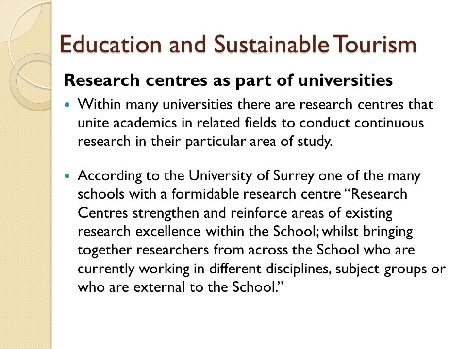 Education and Sustainable Tourism