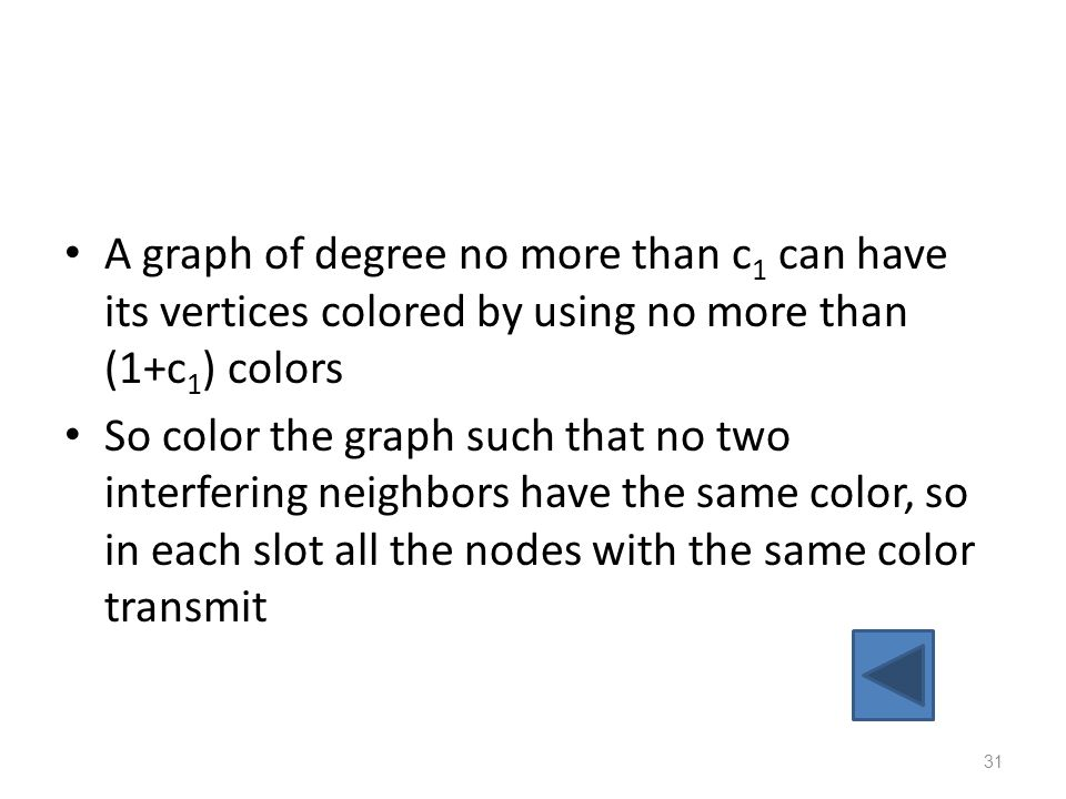 A graph of degree no more than c1 can have its vertices colored by using no more than (1+c1) colors