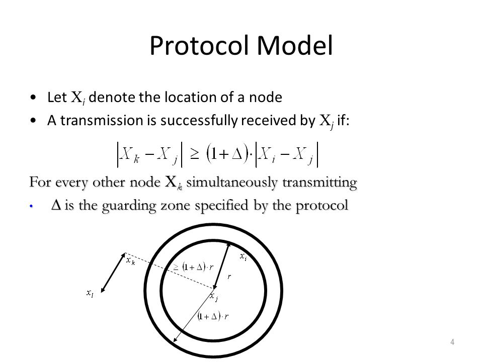 Protocol Model Let Xi denote the location of a node