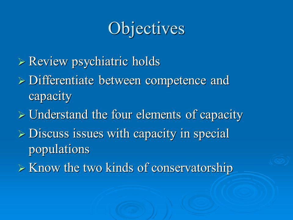 Objectives Review psychiatric holds