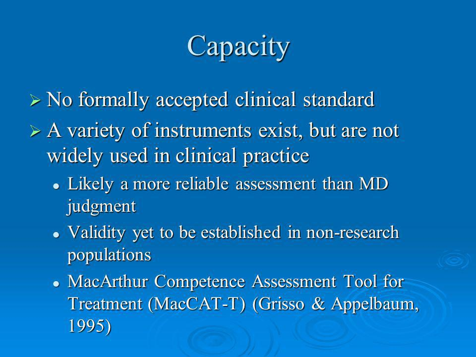 Capacity No formally accepted clinical standard