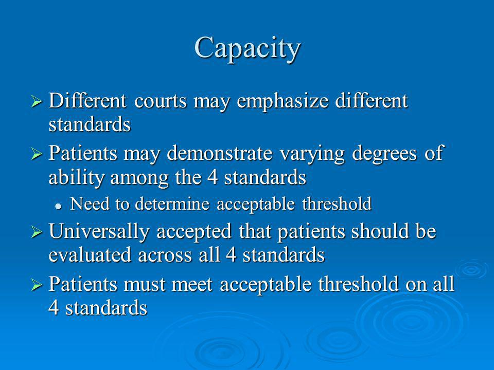 Capacity Different courts may emphasize different standards