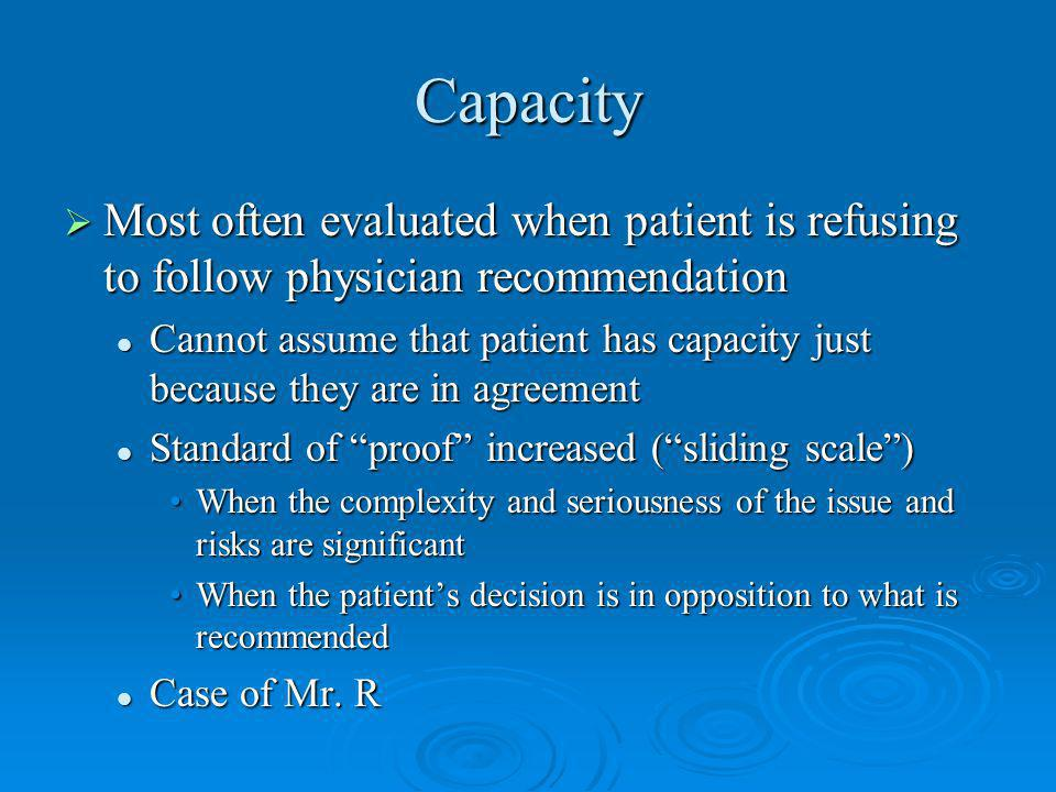 Capacity Most often evaluated when patient is refusing to follow physician recommendation.