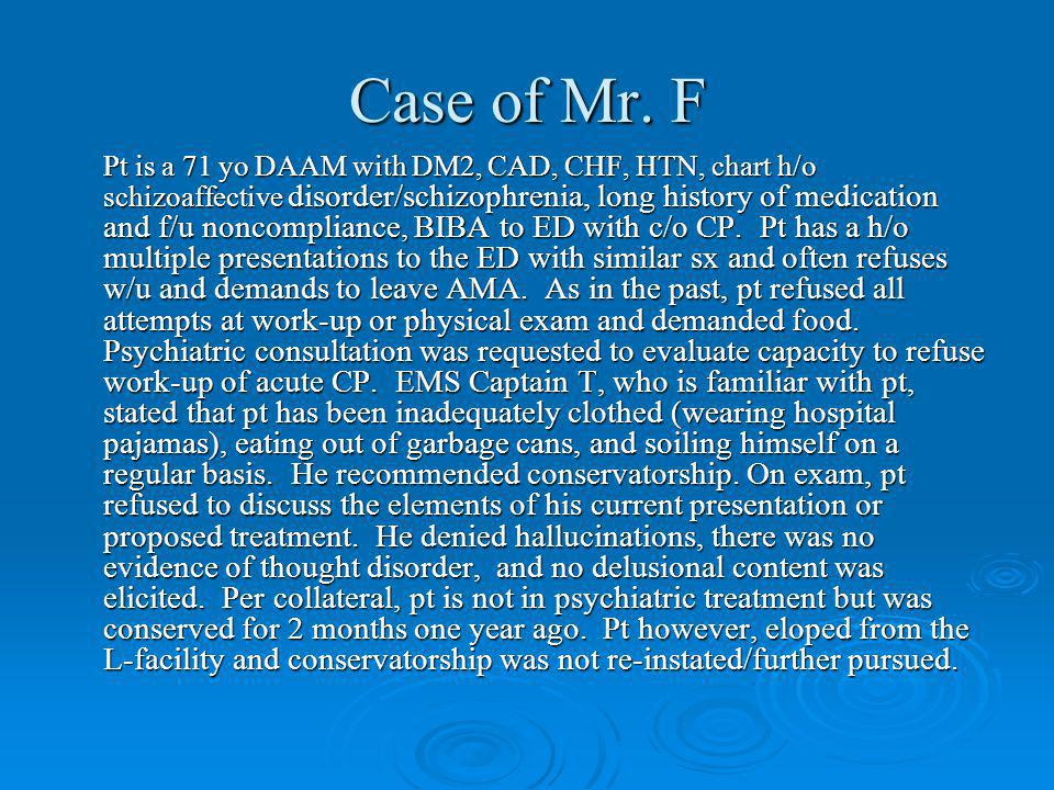 Case of Mr. F