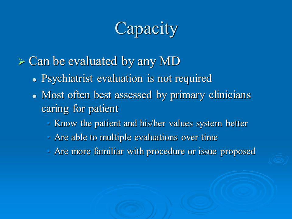 Capacity Can be evaluated by any MD
