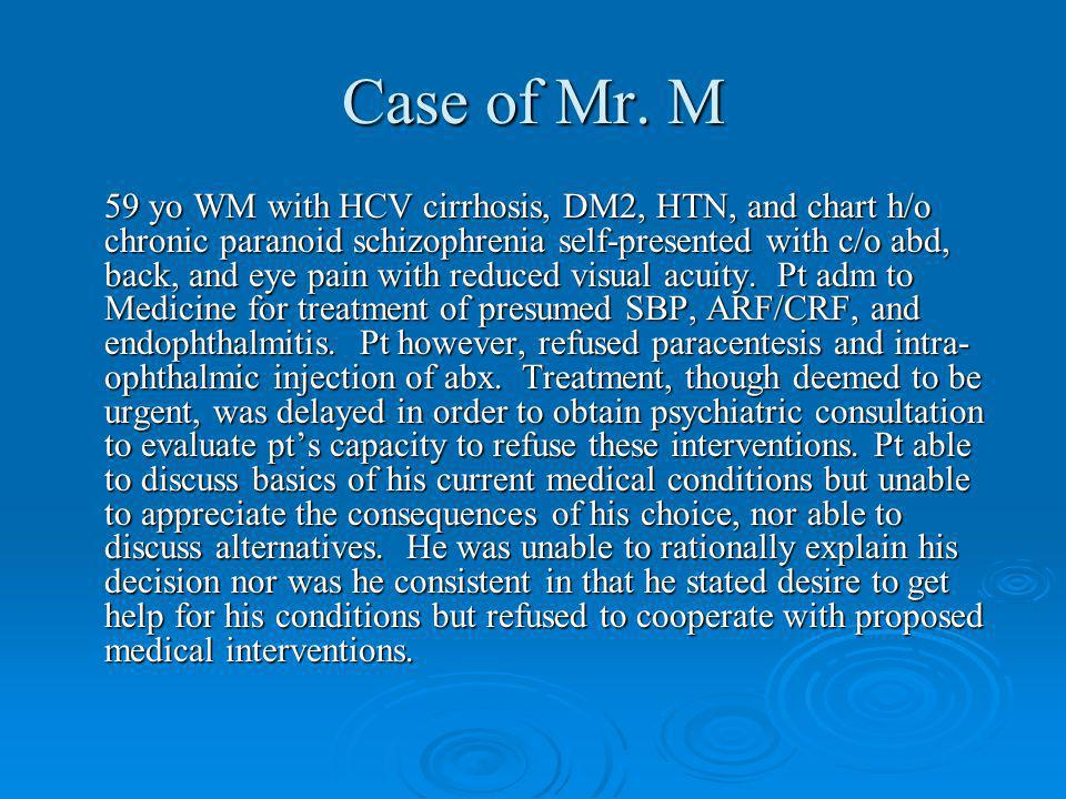 Case of Mr. M