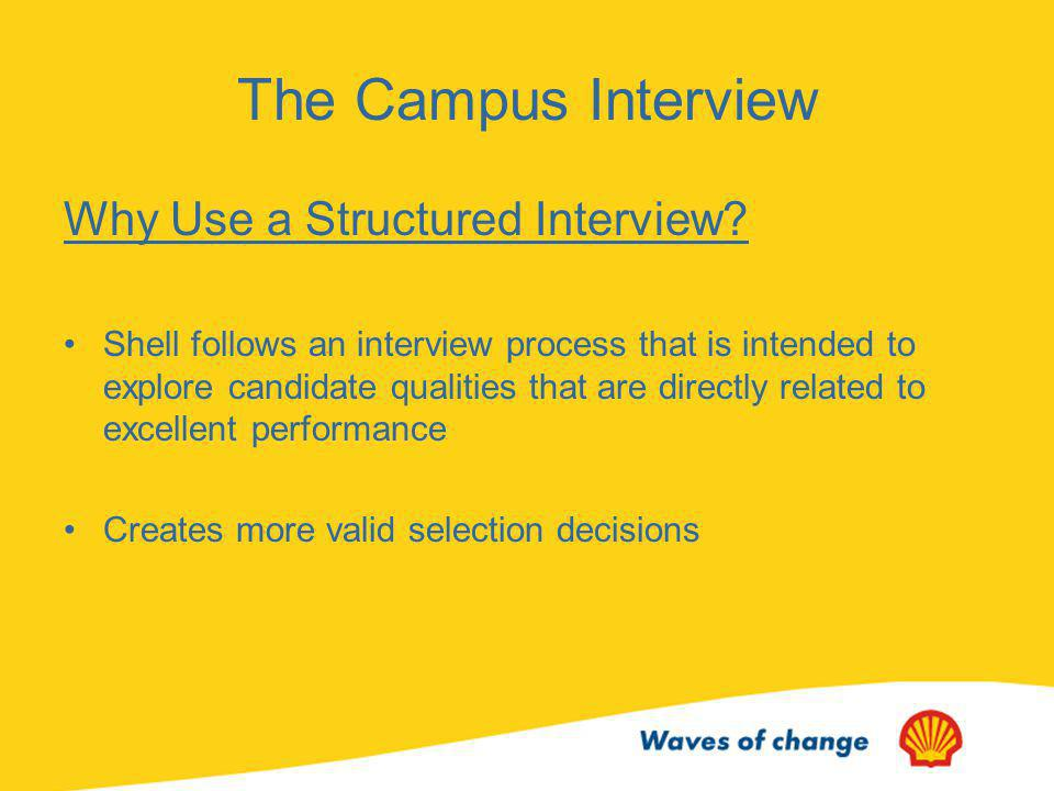 The Campus Interview Why Use a Structured Interview