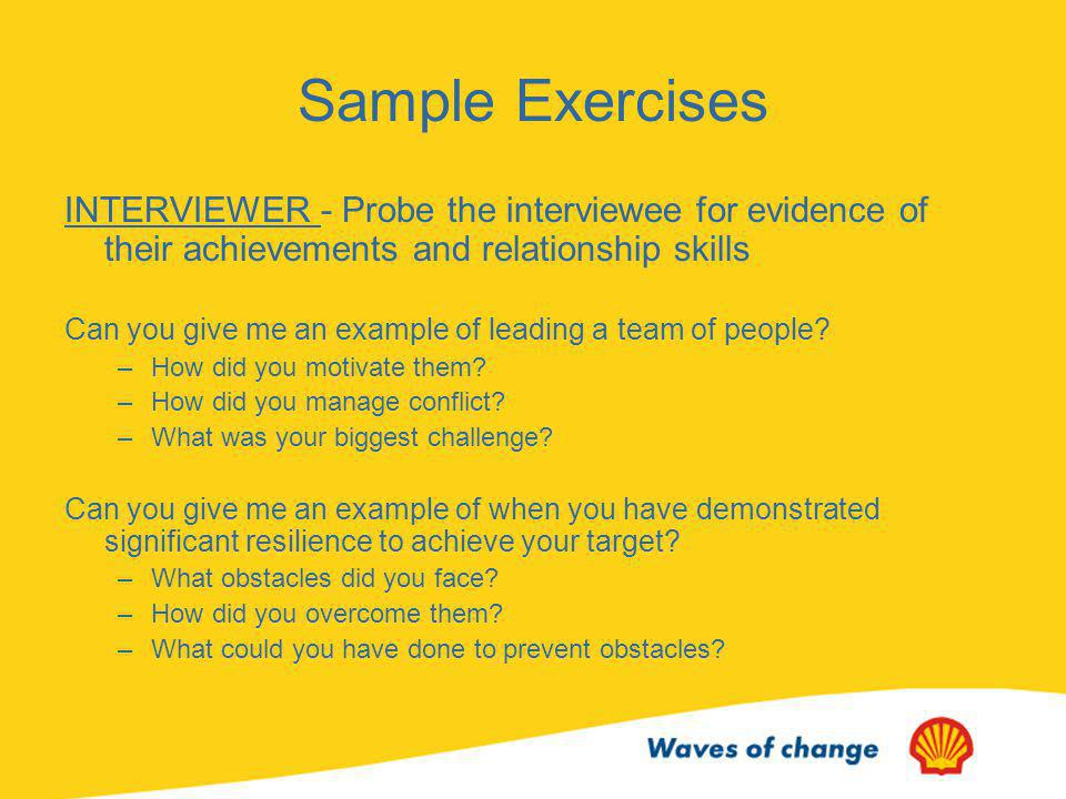 Sample Exercises INTERVIEWER - Probe the interviewee for evidence of their achievements and relationship skills.