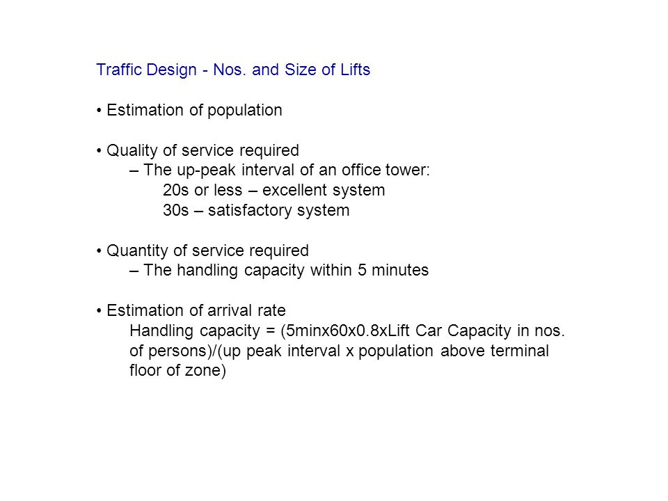 Traffic Design - Nos. and Size of Lifts