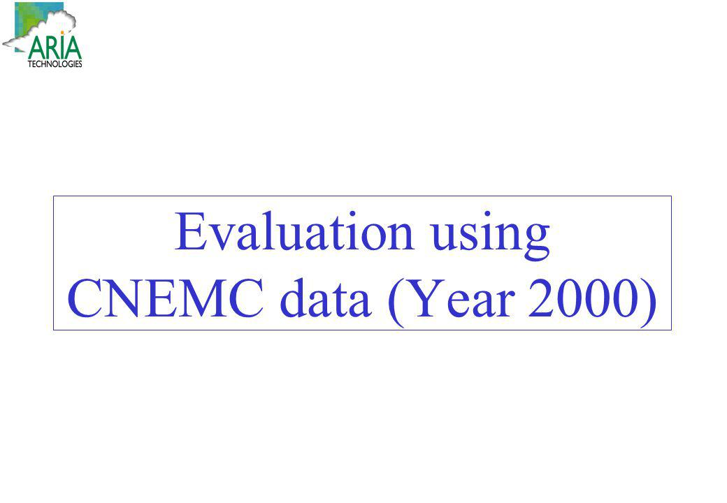 Evaluation using CNEMC data (Year 2000)