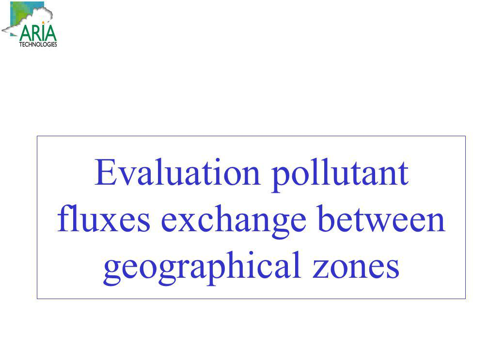 Evaluation pollutant fluxes exchange between geographical zones