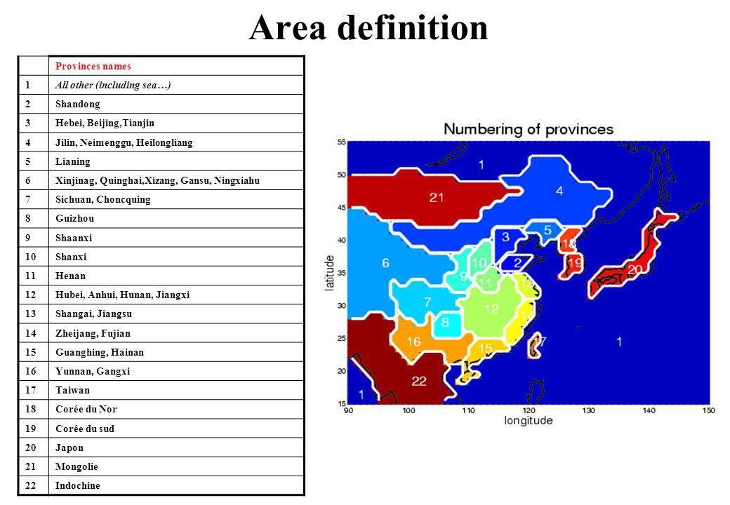 Area definition Provinces names 1 All other (including sea…) 2