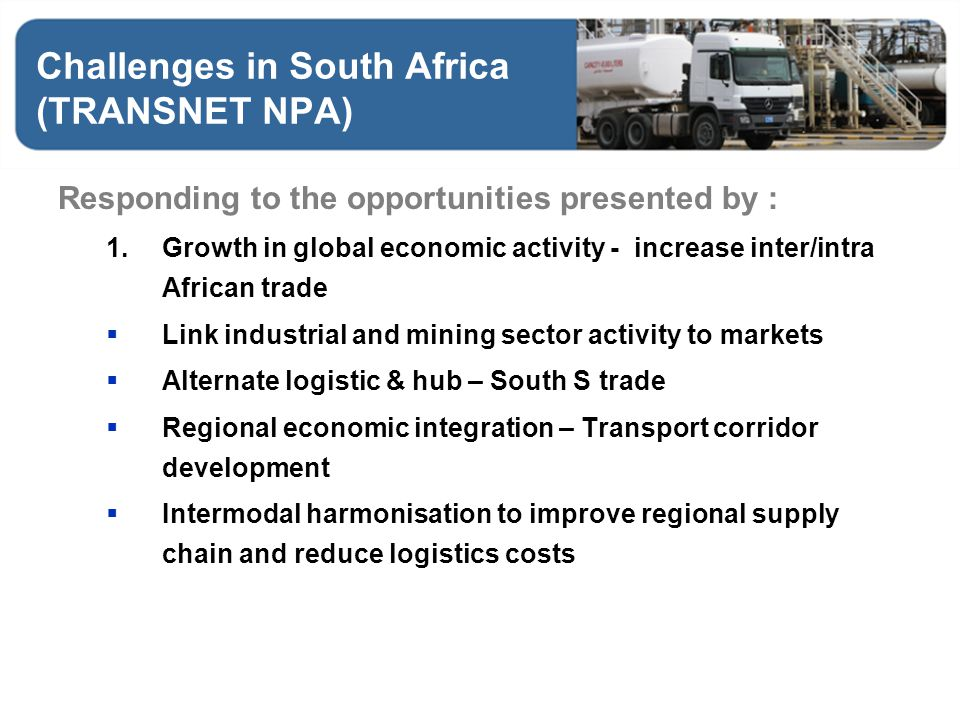 Challenges in South Africa (TRANSNET NPA)
