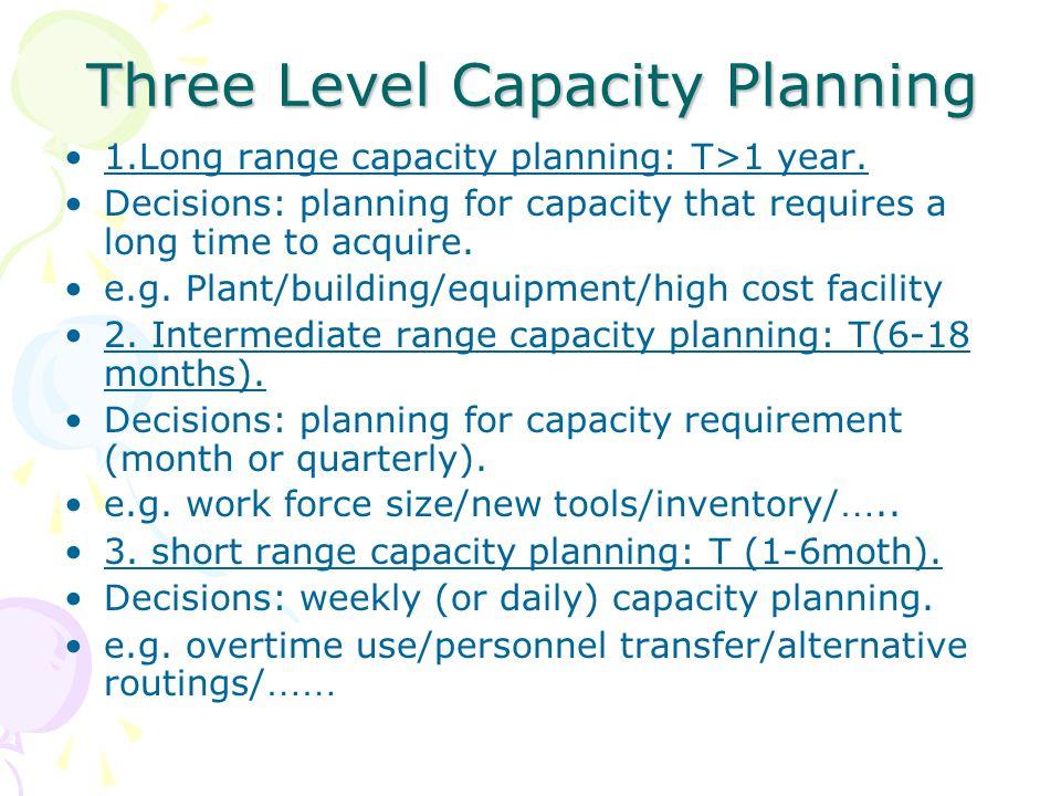 Three Level Capacity Planning