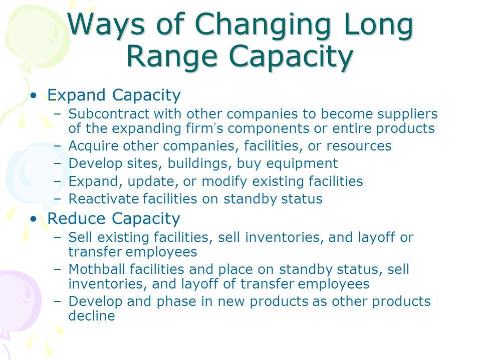 Ways of Changing Long Range Capacity