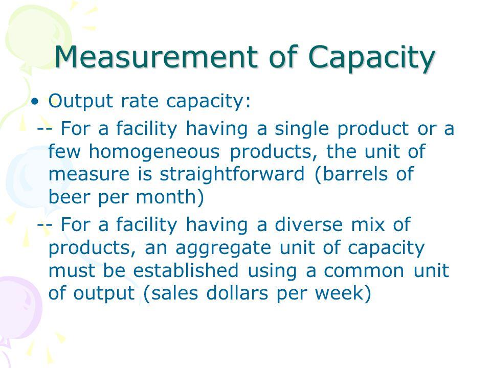 Measurement of Capacity