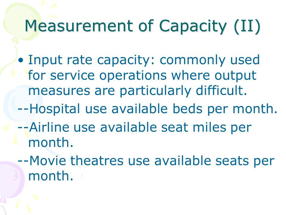 Measurement of Capacity (II)