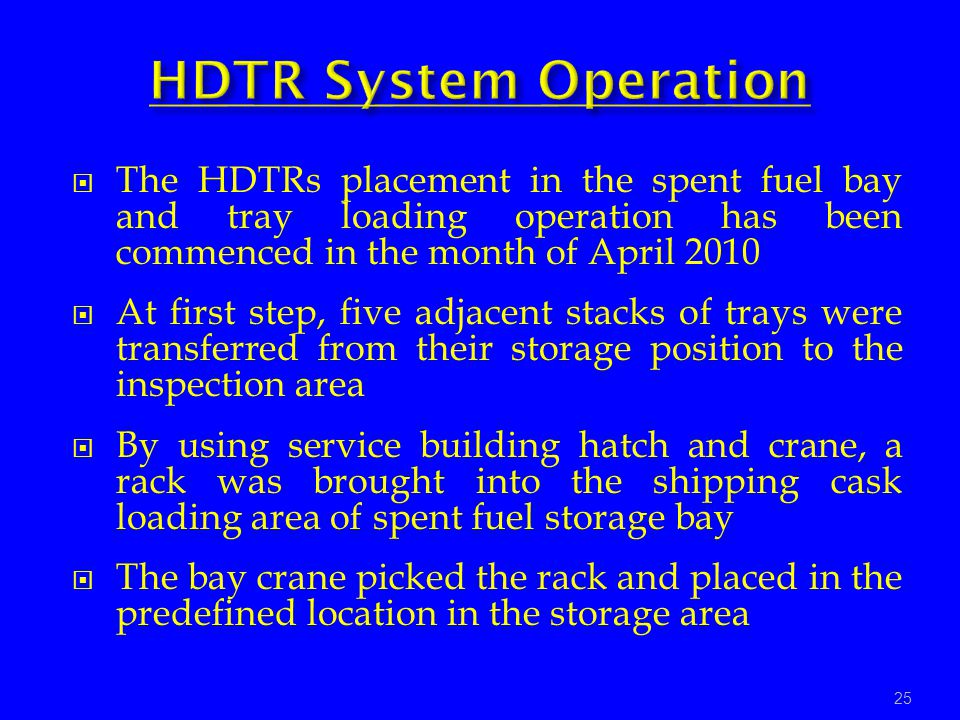 HDTR System Operation The HDTRs placement in the spent fuel bay and tray loading operation has been commenced in the month of April 2010.
