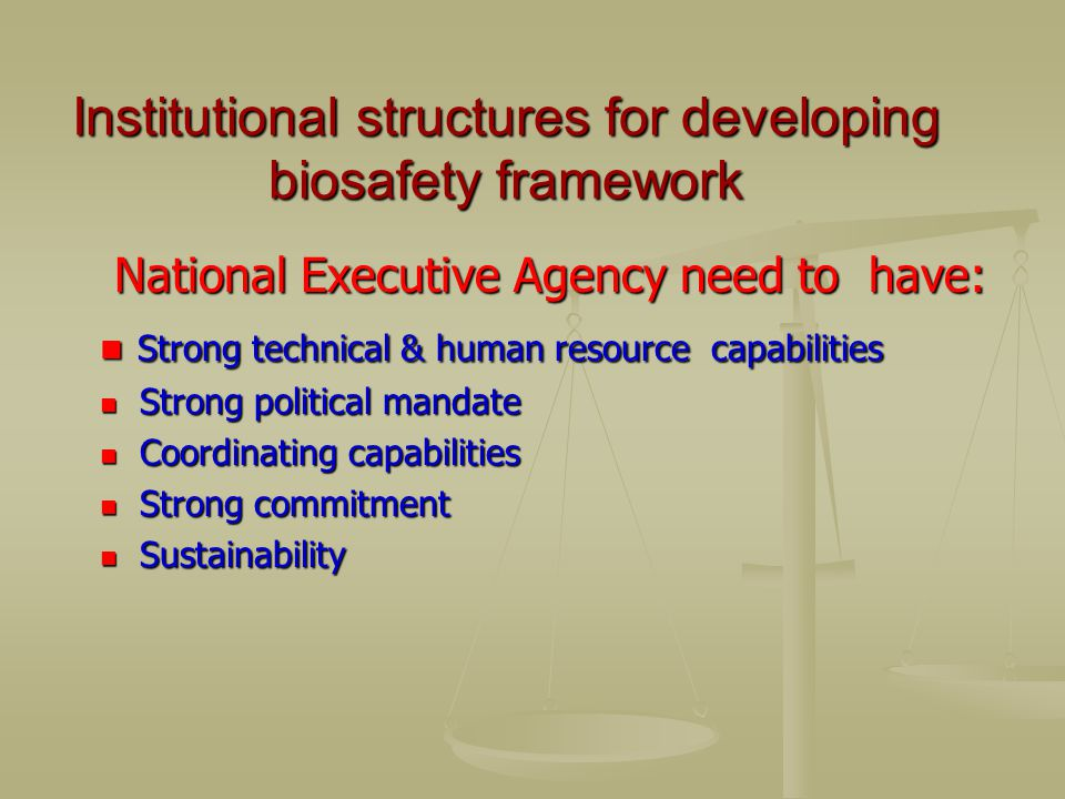 Institutional structures for developing biosafety framework