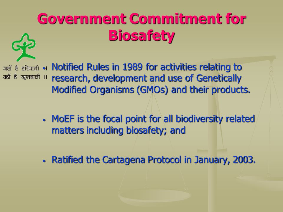 Government Commitment for Biosafety