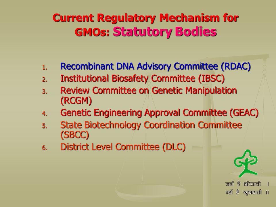 Current Regulatory Mechanism for GMOs: Statutory Bodies