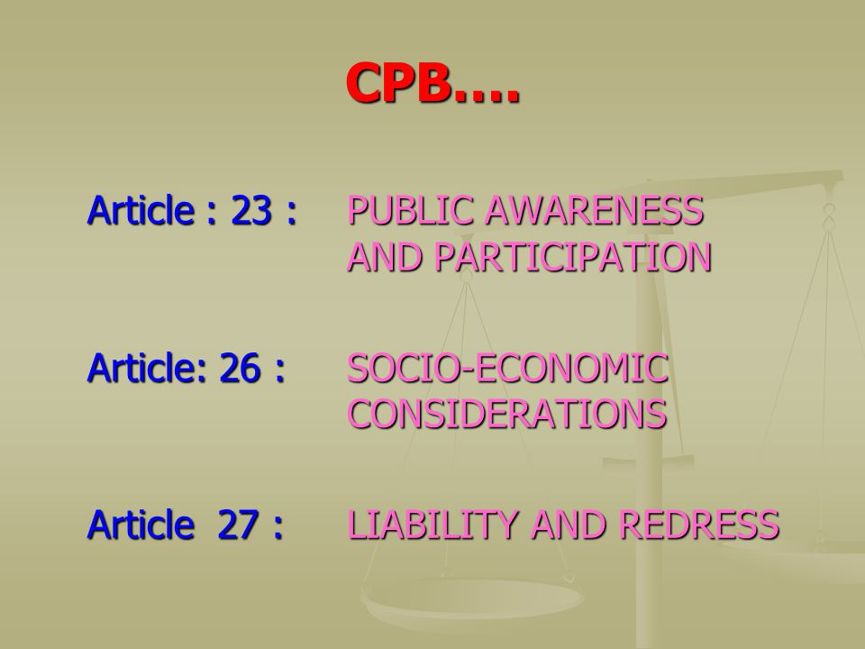 CPB…. Article : 23 : PUBLIC AWARENESS AND PARTICIPATION
