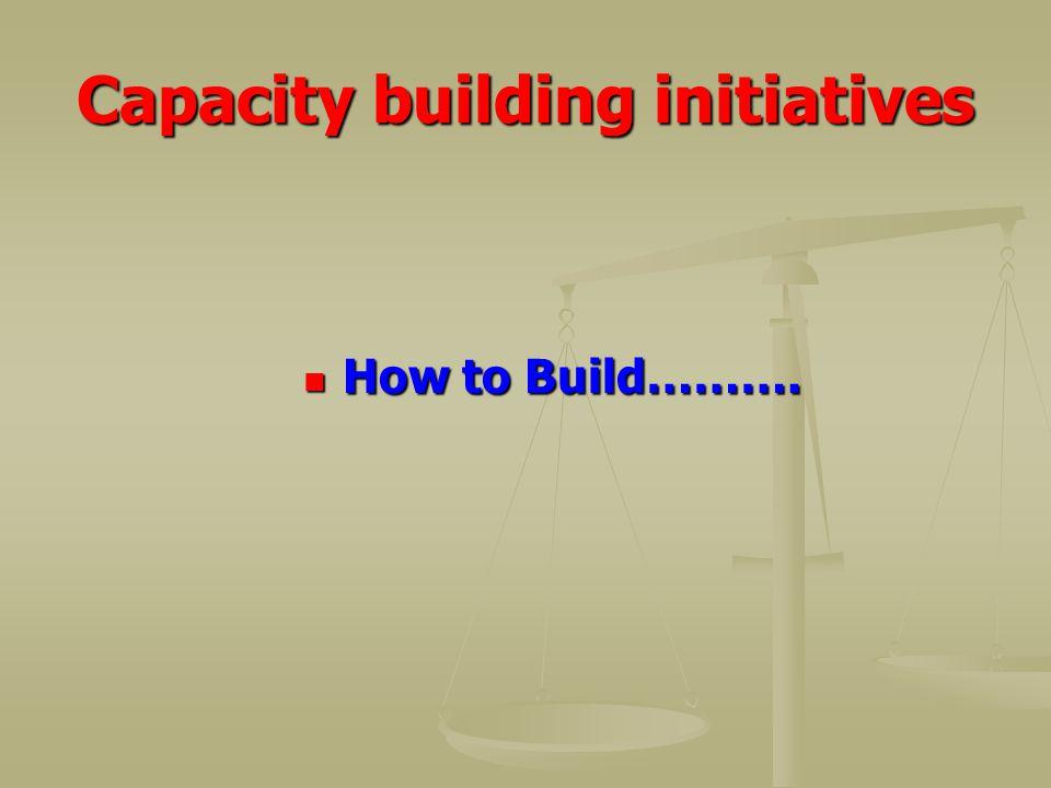 Capacity building initiatives