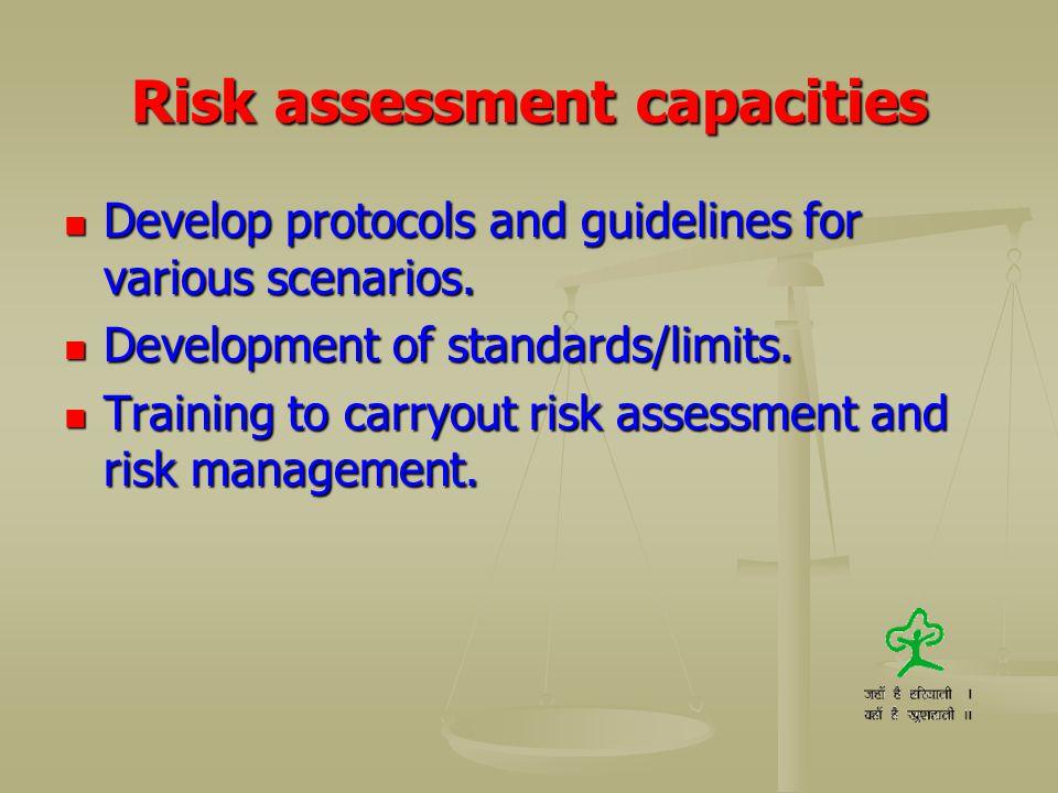 Risk assessment capacities