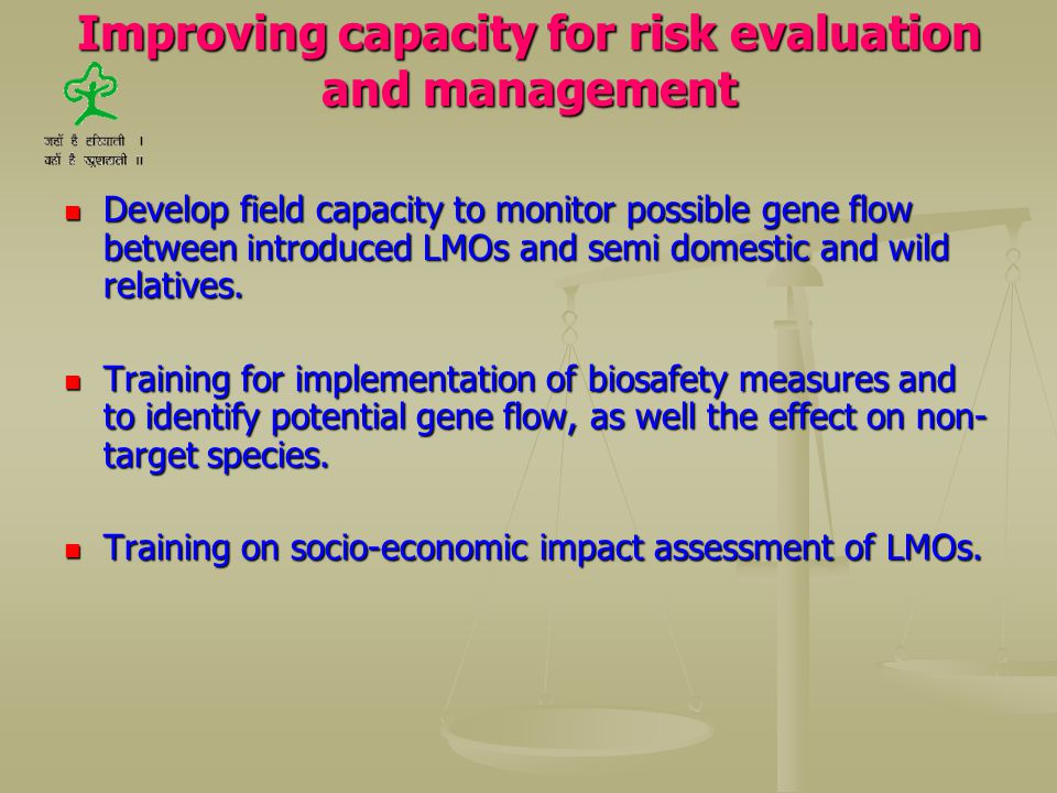 Improving capacity for risk evaluation and management