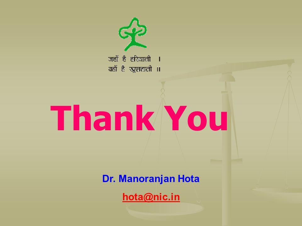 Thank You Dr. Manoranjan Hota hota@nic.in