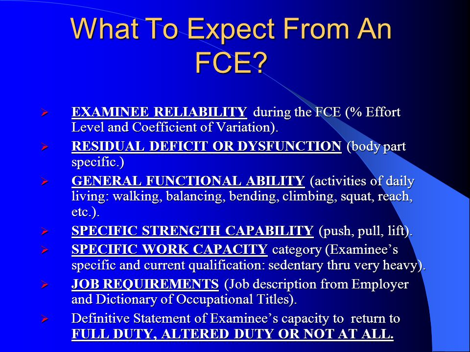 What To Expect From An FCE