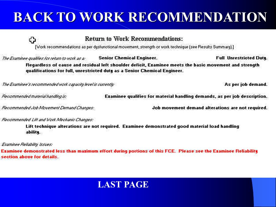 BACK TO WORK RECOMMENDATION
