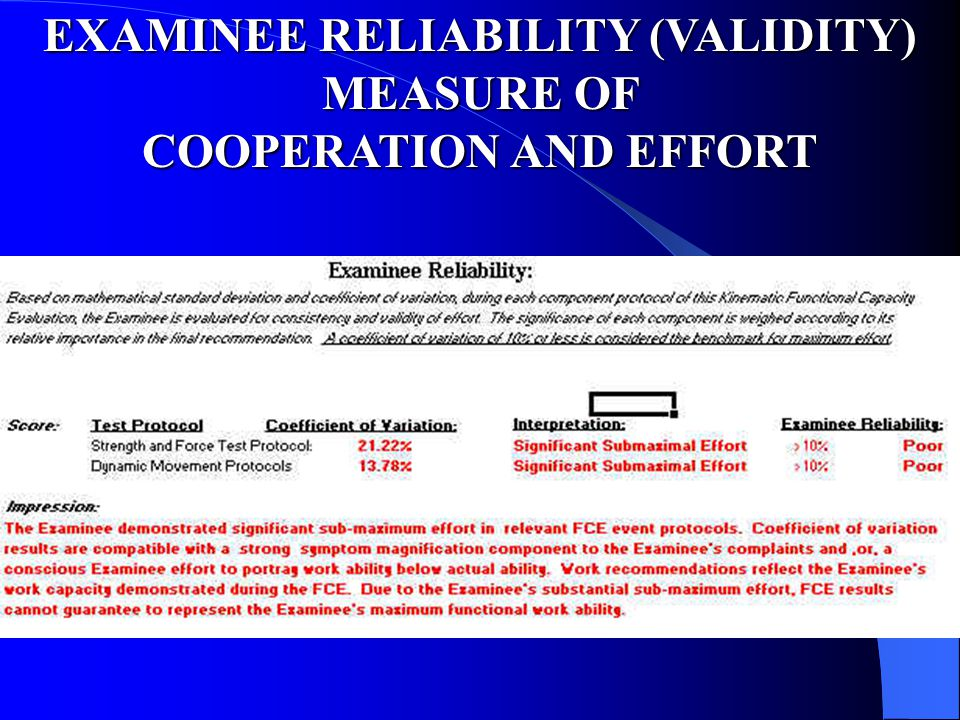 EXAMINEE RELIABILITY (VALIDITY) COOPERATION AND EFFORT
