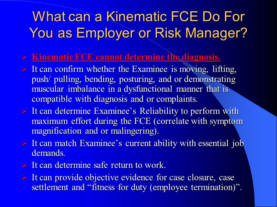 What can a Kinematic FCE Do For You as Employer or Risk Manager