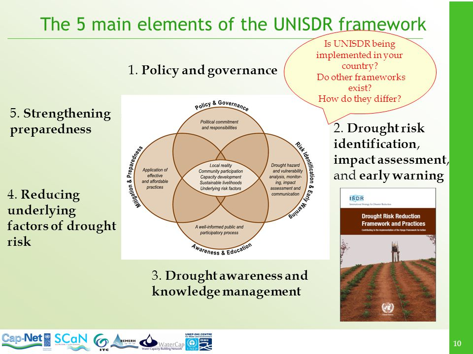 The 5 main elements of the UNISDR framework