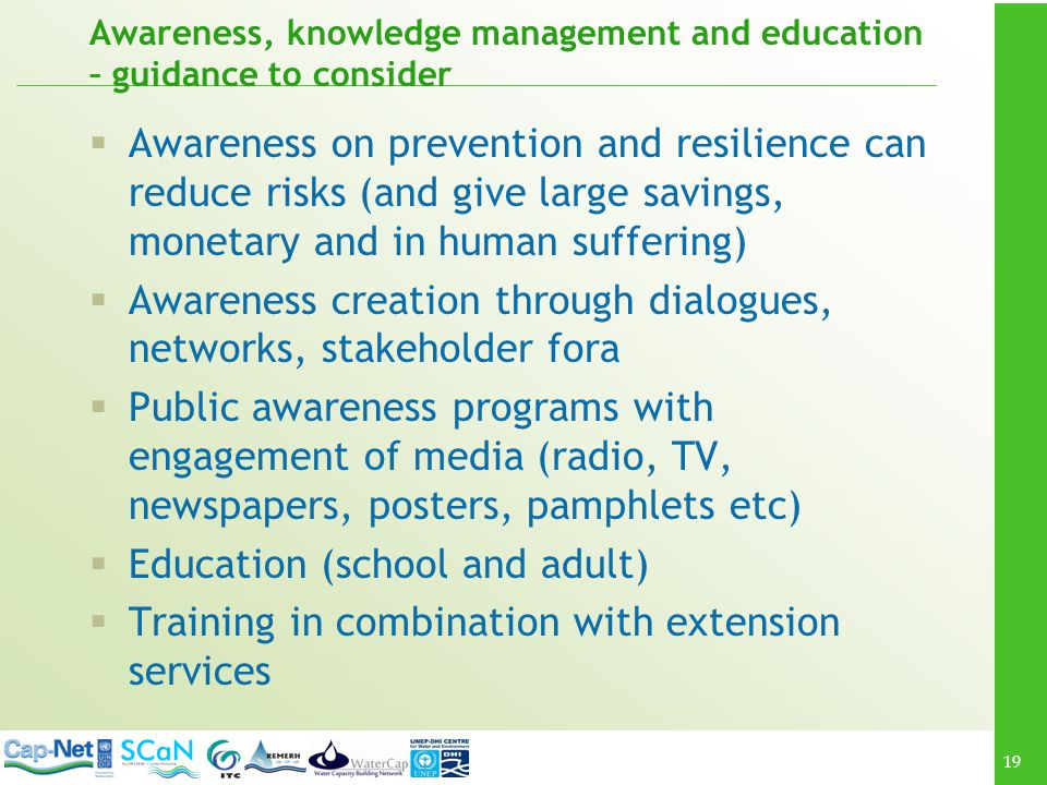 Awareness, knowledge management and education – guidance to consider
