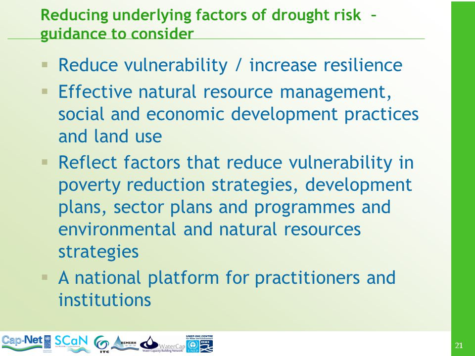 Reducing underlying factors of drought risk – guidance to consider