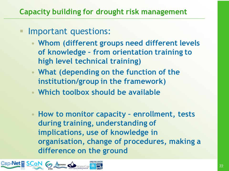 Capacity building for drought risk management