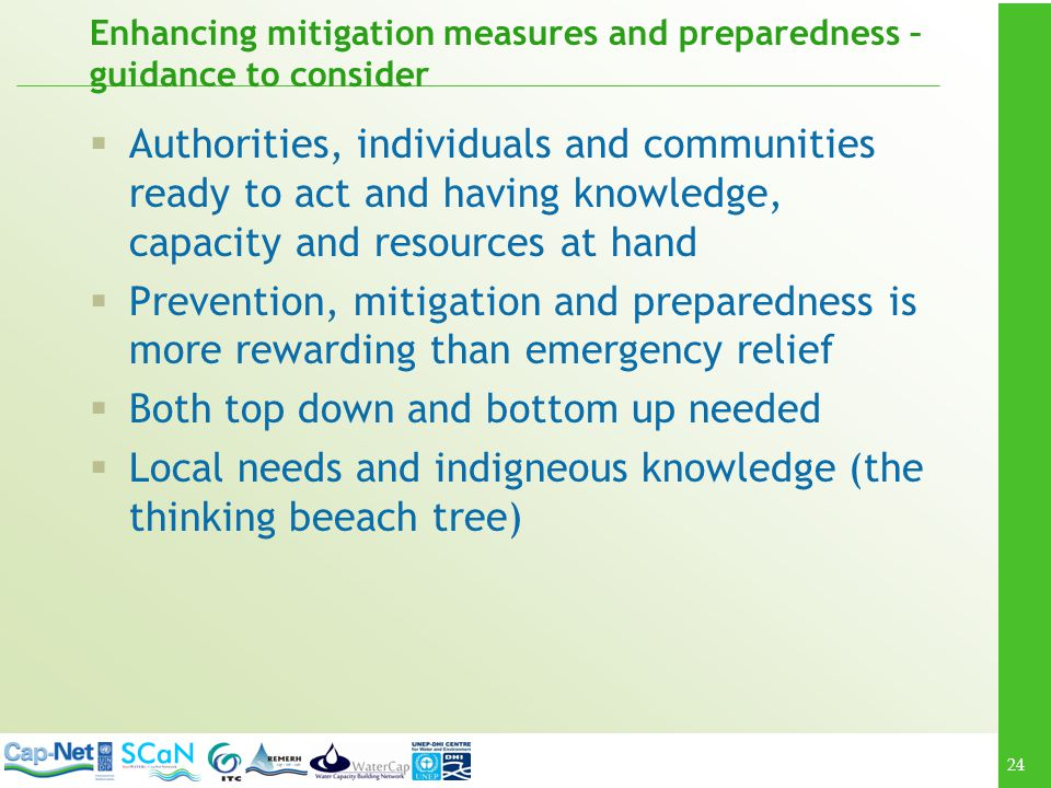 Enhancing mitigation measures and preparedness – guidance to consider