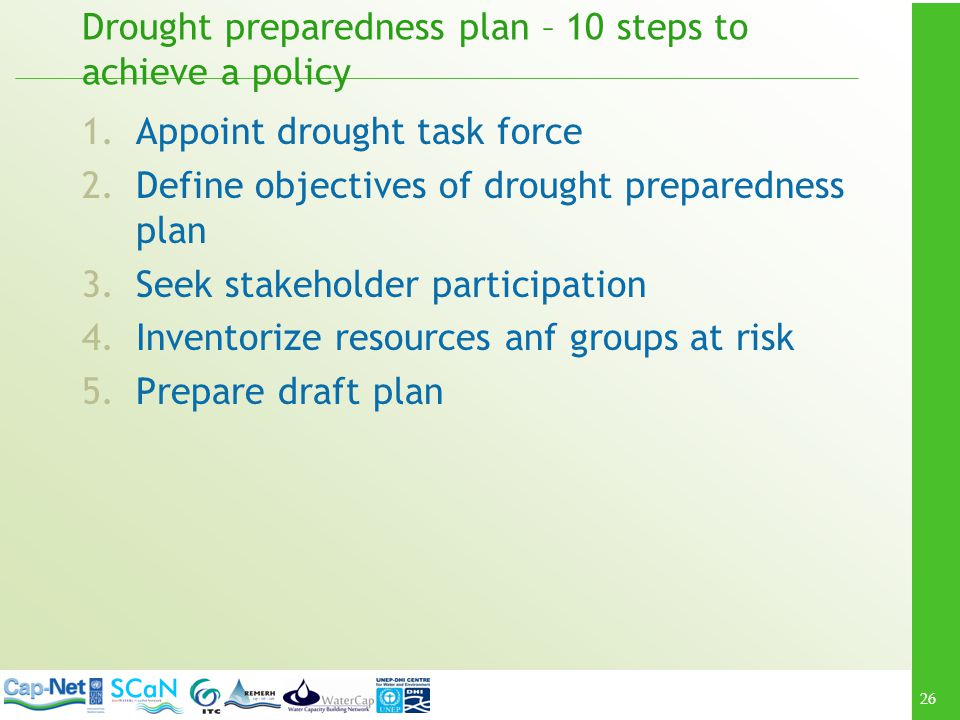Drought preparedness plan – 10 steps to achieve a policy