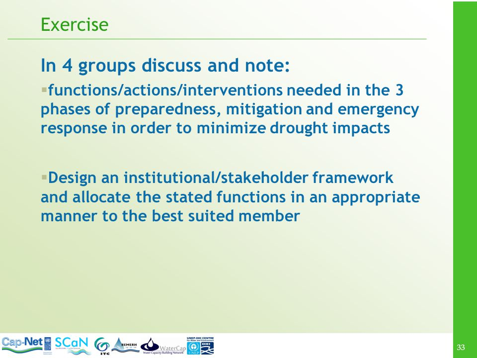 In 4 groups discuss and note: