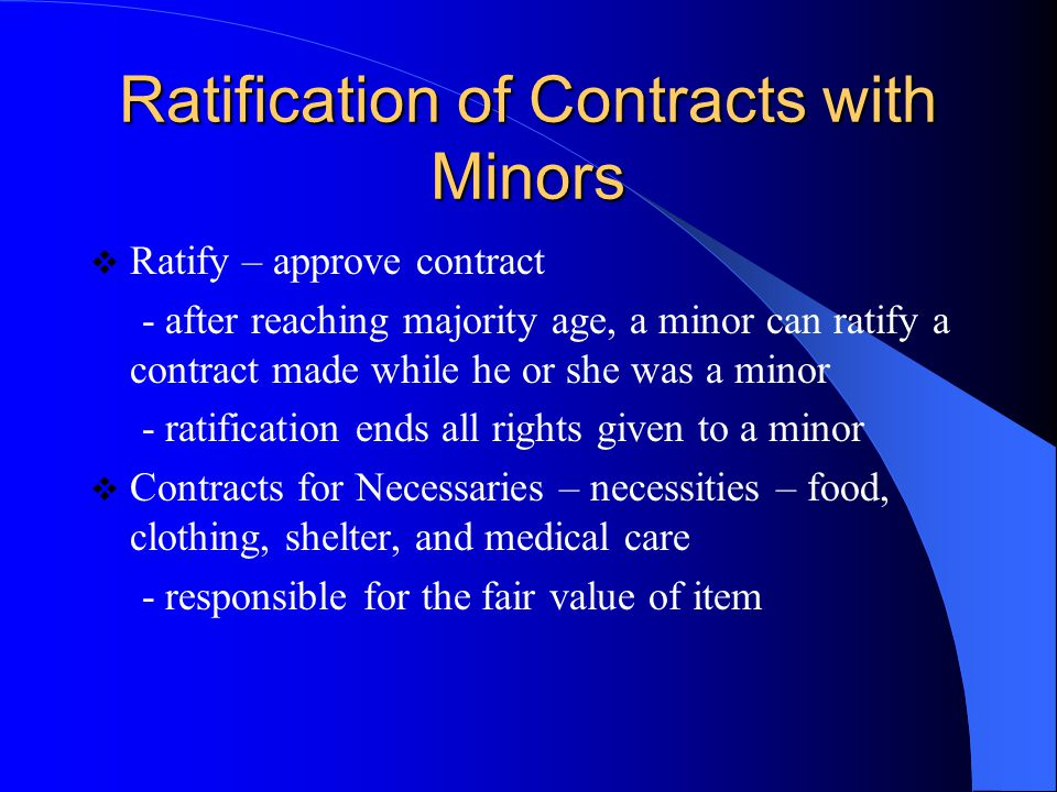 Ratification of Contracts with Minors
