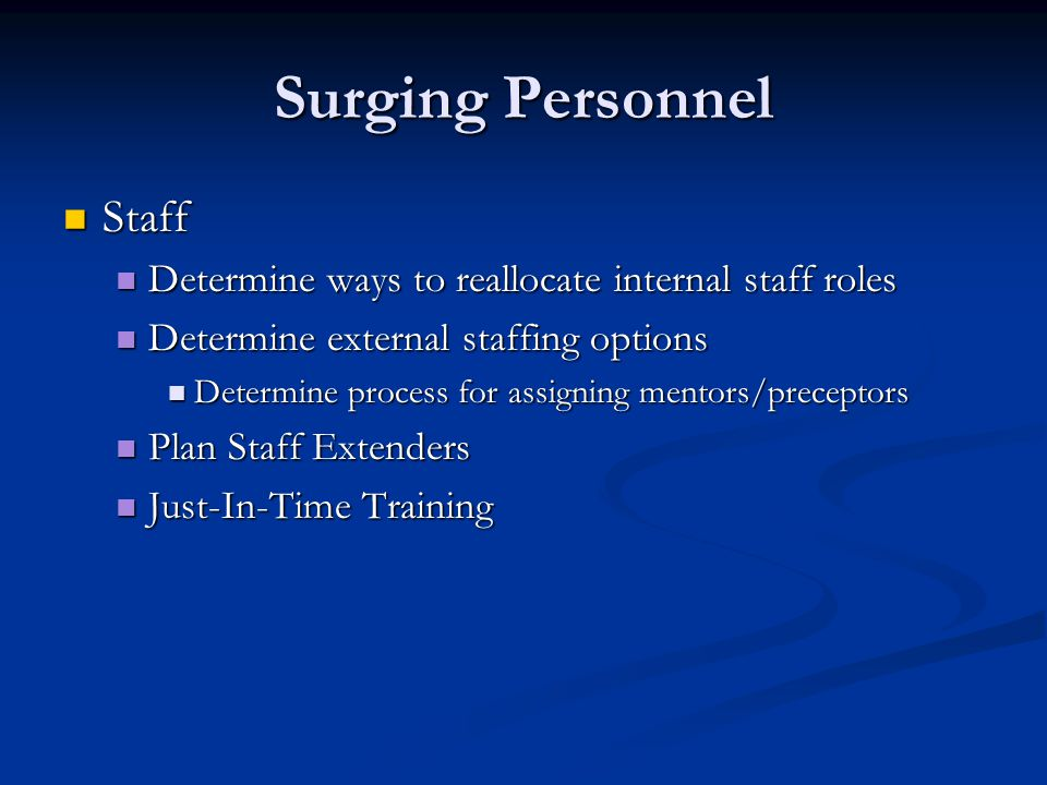 Surging Personnel Staff