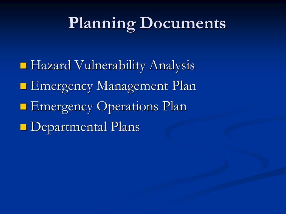 Planning Documents Hazard Vulnerability Analysis