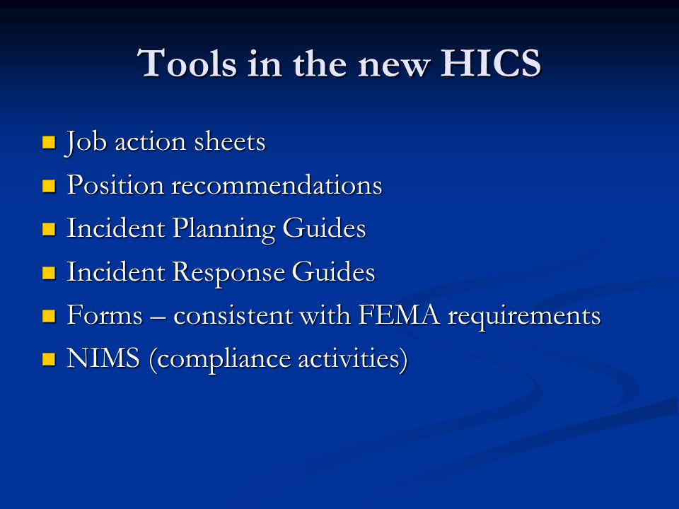 Tools in the new HICS Job action sheets Position recommendations