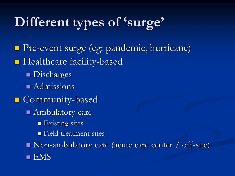 Different types of 'surge'