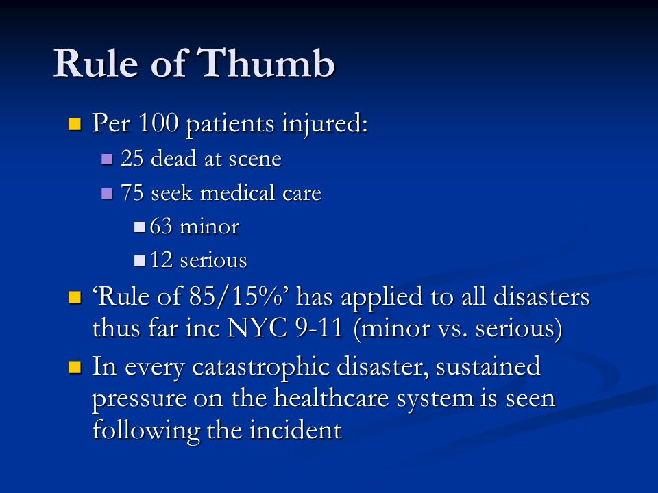 Rule of Thumb Per 100 patients injured: